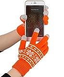 Fosmon T60009 Unisex Winter Touch Screen Gloves, Orange and White Snowflakes