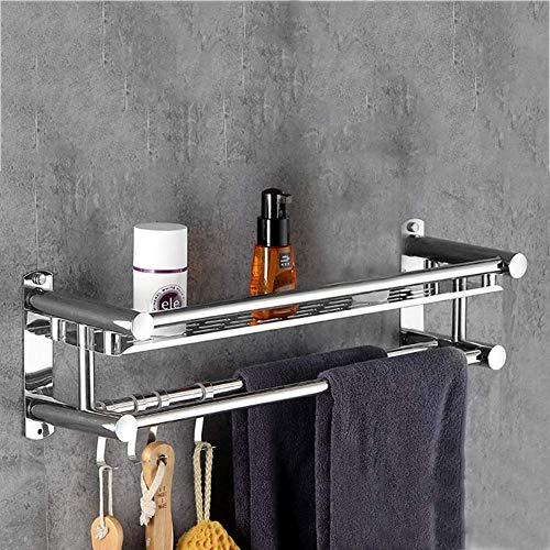 Porte-serviette de salle de bains en aluminium pour hôtel Support mural de cosmétiques pour shampoing gel de douche 40-60cm -71 (Couleur: 1 couche Taille: 40cm)