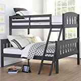 Dorel Living Airlie Solid Wood Bunk Beds Twin Over Full with Ladder and Guard Rail, Slate Gray