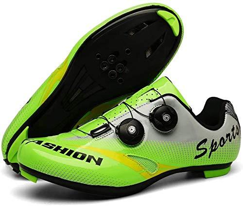 Zapatillas De Ciclismo Unisex,Zapatillas De Deporte Transpirables Profesionales Para Bicicleta De Montaña Zapatillas De Carreras De Bicicletas Ultraligero Transpirable Antideslizante,Green-45EU