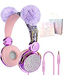 💖【SUPER CUTE & SPARKLY KIDS HEADPHONES】- Our pink kids' headphones are combined with two most popular elements among kids-sparkly rainbow and unicorn, plus the customised colour, making it a special and unique unicorn gift for little girls. 💖【DESIGNE...
