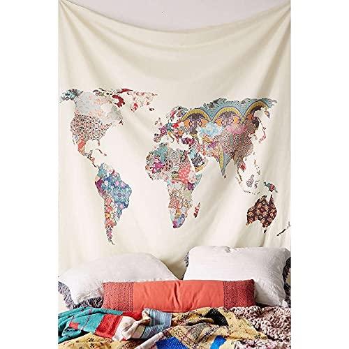 Hippie Mandala calavera tapiz de pared tapiz psicodélico decoración de habitación Luna mapa del mundo paisaje manta de pared A3 180x200cm