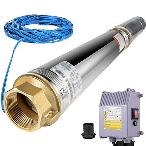 VEVOR Bomba para Pozos Profundos 1,5 HP /1,1 KW, Bomba Sumergible de Agua con Agujero Subacuático de 220 V, Bomba Sumergible de Acero Inoxidable Altura 104 m Cable de 40 m con Caja de Control