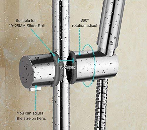 Soporte de ducha Joyoldelf Ajustable 18-25mm ABS Cabezal de ducha Deslizante Repuesto para cabezal Cursor Brazo de…