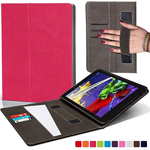 Forefront Hülles Hülle für Lenovo Tab 3 8 / Tab 2 A8-50 Schutzülle Cover Hülle mit Handschlaufe und Card Holder - Dünn Leicht, R&um-Geräteschutz und Auto Schlaf Wach Funktion - Rosa