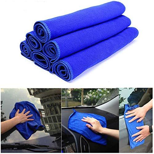 Preisvergleich Produktbild ICYANG 6 Stücke Auto Tücher Reinigungstücher Mikrofaser Saugfähigen Poliertuch Trockentuch Waschlappen Autopflege Haushalt Blau, 30 * 30 cm