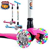 OUTON Scooter for Kids 3 Wheel Kick Scooter for Toddler Girls Boys, Lean to Steer, 4 Adjustable Height, Light Up Wheels for Children Age 3-14 (Rose Pink)