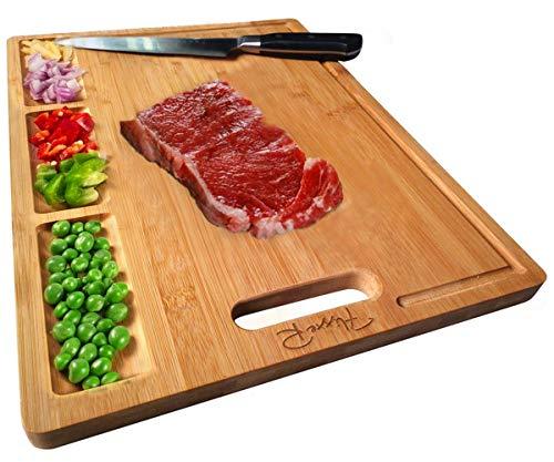 FlixxeR Planche à découper en bambou, plateau de service en bois bio, planche à découper réversible pour viande, fromage, pain et aliments avec 3 compartiments et rainures pour jus (40 x 30 x 1,7 cm)