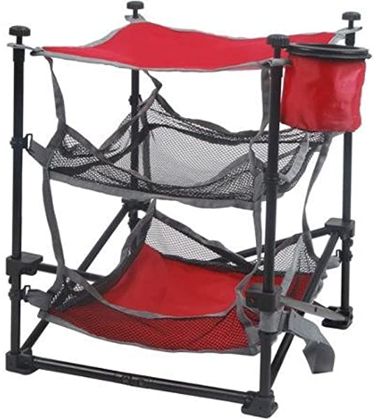 OZARK TRAIL Durable Steel Frame Folding End Table With Removable Swivel Cup Holder Red