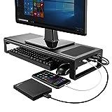 VAYDEER Support Moniteur PC avec Chargement sans Fil et USB 3.0 Rehausseur Ecran...