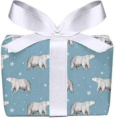 5er Set Weihnachts Geschenkpapier Bögen Eisbär blau Kraftpapier Vintage Retro Look zu Weihnachten & Adventszeit, Weihnachtspapier für Weihnachtsgeschenke, Adventskalender, Format 50 x 70 cm