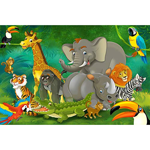 GREAT ART XXL Affiche Chambre d'enfant – Jungle Safari – Décoration Nature Animal Park Animaux Sauvages Animaux Sauvages Girafe Éléphant Singe Lion Perroquet (140 x 100 cm)