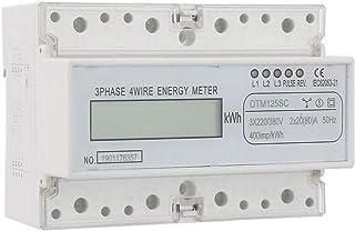 Medidor de KWh trifásico, 220 / 380V 20-80A Medidor de potencia eléctrica digital de consumo de energía Medidor de KWh de 3 fases con LCD