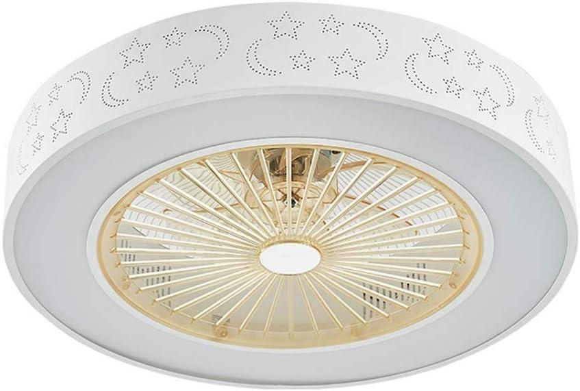 -Luces de Techo Ventilador de techo de 21.6 pulgadas con kit de luz LED, lámparas de techo redondas LED de montaje empotrado regulable moderno con control remoto, aspas de ABS incorporadas, 72W, 110-2