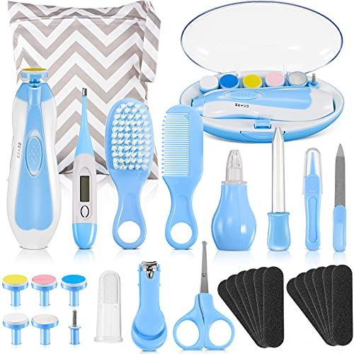Baby Healthcare and Grooming Kit 30-in-1 Baby Electric Nail Trimmer Set Baby Nursery Health Care Kit for Infant Newborn Toddler Kids Boys Girls Haircut Tool Nail Clipper Comb Nasal Aspirator (Blue)