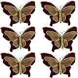 Farfalla bordò Oro per Albero di Natale Decorazioni Natalizie addobbi Set da 6 Molto Belle Moderne Particolari Che renderanno Il Vostro Albero Speciale Idea Regalo per Natale