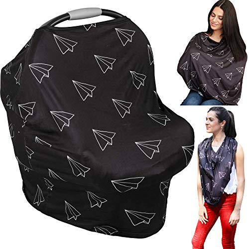 Nursing Cover & Baby Carseat Cover - Ultra Soft and Breathable - Large Full Coverage Breastfeeding Canopy Gives 100% Privacy - Keep Baby Protected - Beautiful Infinity Scarf (Airplanes Black & White)