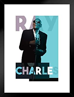 Poster Foundry Ray Charles Microphone Color Block Music Matted Framed Wall Art Print 20x26 inch