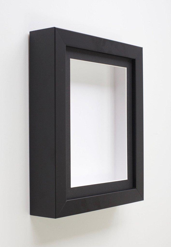 Marco de caja de sombra negra con protección de cristal | Marcos de caja de madera maciza para manualidades objetos 3D, recuerdos de exhibición, medallas (808), madera, Soporte negro., 6x6