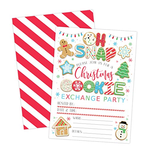 Cookie Exchange Christmas Party Invitation, Holiday Party Invite, Christmas Party, Holiday Party Invitations, 20 Fill in Invitations and Envelopes