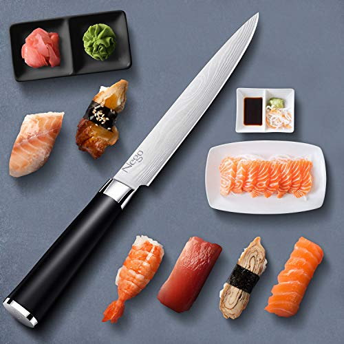 Sashimi Sushi Knife- Nego Yanagiba Knife 8.5 Inch Sharp Knife For Cutting Sushi & Sashimi, Fish Filleting & Slicing, German High Carbon Stainless Steel with Ergonomic Handle- Cooking Chef Knives