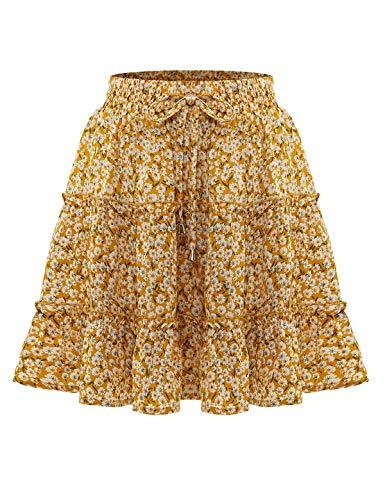 Bbonlinedress Damen Rock Röcke Sommerrock Minirock Kurz Röcke Skirts im Sommer A-Yellow Flower L