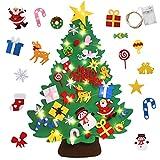 Yojoloin Fieltro Árbol de Navidad DIY con 50 Luces LED 30 PCS Adornos Navidad Decoración Colgante para Niños Cafe Hotel Casa Decoración