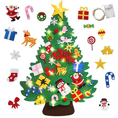 Yojoloin Feltro Albero di Natale LED Decorazione per Ornamenti di Natale con 30PCS Accessori per Decorazioni Natalizie Regali di Natale per Bambini