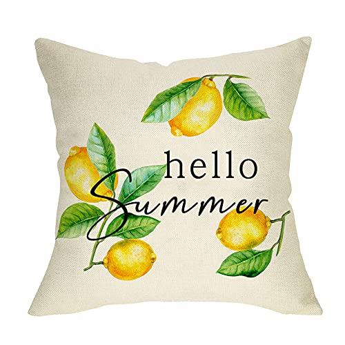 FBCOO Hello Summer Decorative Throw Pillow Cover, Lemon Branch Cushion Case Decor Sign Seasonal Fruit Farmhouse Home Square Pillowcase Decorations for Sofa Couch 18 x 18 Cotton Linen