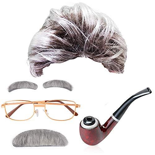 MMTX Old Man Fancy Dress Accesorio Set Peluca de Abuelo con Bigote, Cejas, Gafas y Pipa, Carnaval Halloween Einstein Abuelo, Viejo, científico Loco, Mad Scientist, Profesor
