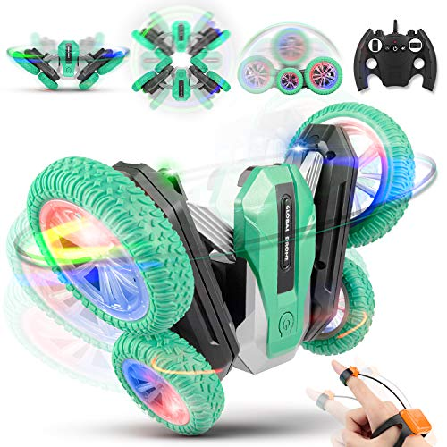 DODENSHA Remote Control Car for Kids RC Stunt Cars, Double Sided 360°Rotating RC Cars with Demo Mode Music & Led Lights Control, Rechargeable RC Cars Birthday Gifts for Boys & Girls (Green)