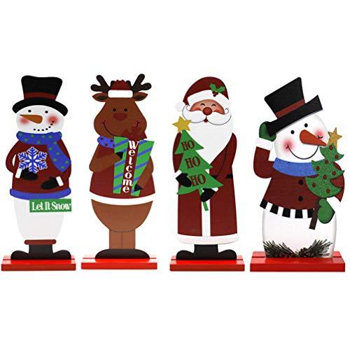 Toyvian 4Pcs Hölzerne Weihnachtsverzierung Rentier Santa Claus Schneemann Weihnachten Tischdekoration Urlaub Dekor