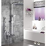 Sistema de ducha cromado Altura ajustable Masaje Mezcladores de ducha de chorro Cabezal de ducha de lluvia Cabeza de rociador de bidé de latón Grifo de ducha de baño