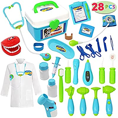 JOYIN 28 Pieces Doctor Kit for Kids, Toddler Pretend Dentist Kit, Medical Kit with Electronic Stethoscope, Educational Doctor Toy and Doctor Role Play Costume Dress-Up, Toys for Kids Ages 3-6 by Joyin Inc
