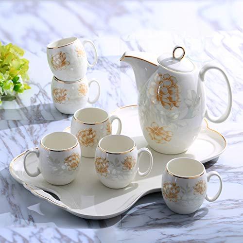 JYXJJKK Tasse en céramique de ménage avec 6 Jeux,Salon Kettle Tasse Ensemble-A