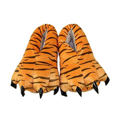 CuteOn Unisex Weich Plüsch Karikatur Winter Hausschuhe Cosplay Kostüm Tier Pfote Klaue Schuhe Tiger