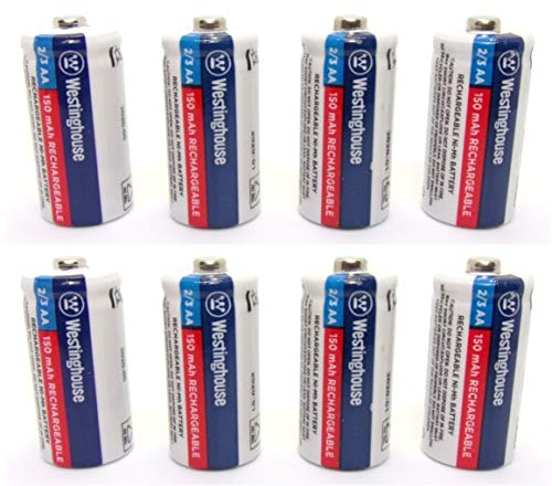 8X Westinghouse 2/3 AA Ni-Mh Battery Batteries Rechargeable 1.2 V Volt 150 mAh Reusable Chargeable by JL Missouri Parts