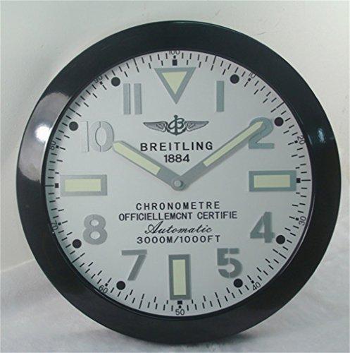 Breitling Luminous Silent Sweep Wall Clock, Black+White