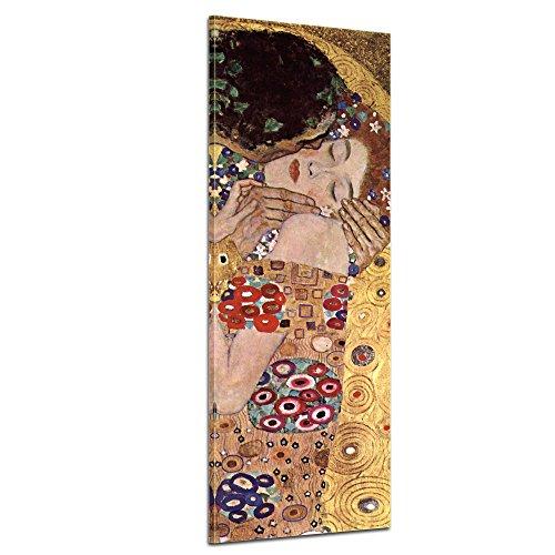 Keilrahmenbild Gustav Klimt Der Kuss - 40x120cm hochkant - Alte Meister Berühmte Gemälde Leinwandbild Kunstdruck Bild auf Leinwand