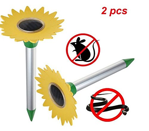 2 pcs Solar Mole Repeller, Tournesol à ultrasons Electronic Drive Away Mole Rat Deterrent Mouse Snake Insect Repel Equipment pour Jardin extérieur, Zone Efficace d'environ 800 mètres carrés