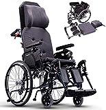 GJNVBDZSF Fauteuil Roulant à Dossier Haut, Fauteuil Roulant Manuel en Aluminium avec Coussin Confortable et Repose-Pieds réglable Old Man Handicapé Self-LED Wheelchair Trolley