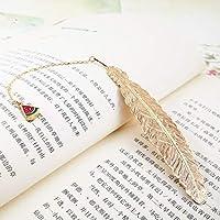 学生文具フレンズギフト包装メタルフェザーブックマーク豪華な黄金のブックマークのクリエイティブペンダントギフトボックス (色 : E)