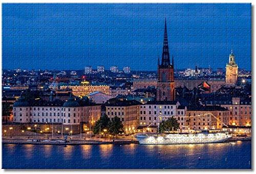 MX-XXUOUO 1 000 bitar pussel för vuxna barn | Sverige Stockholm stadsbild | 75 x 50 cm familj roliga pussel