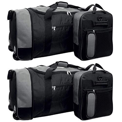 """32 """" Extra Large Holdall On Wheels, Lightweight Suitcase Travel Wheeled Holdall XL Duffle Bag Luggage (2 x Black & Grey)"""
