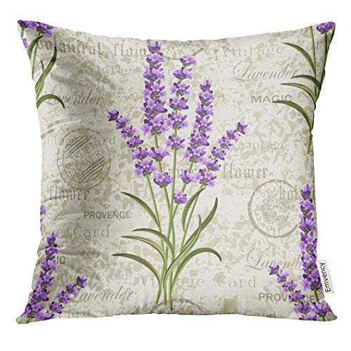 UPOOS Throw Pillow Cover Purple Flower Floral Pattern with Lavenders on Vintage Colorful Provence Aroma Decorative Pillow Case Home Decor Square 16x16 Inches Pillowcase