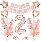 Globos de Cumpleaños 2 año, 2 Oro RosaDecoraciones, Pancarta de Feliz Cumpleaños, Decoración de Cumpleaños para 2 Niña, Globos de Confeti y Aluminio Oro Rosa, Fiesta Regalos para Niña y Mujeres y Bebe