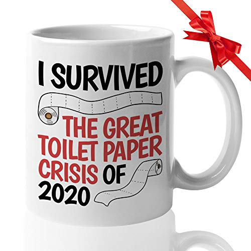 Witty Coffee Mug - Survived The Great Toilet Paper Crisis of 2020 - Funny Shortage Sarcasm Sarcastic Humor Gag Quarantine Social Distancing