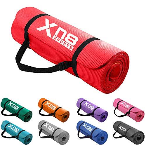 Xn8 Tappetino Yoga 15mm Di Spessore Imbottito-Antiscivolo Tappetino per Palestra-Pilates-Aerobico-Fitness-Esercizi a Casa con Cinghie (Rosso)
