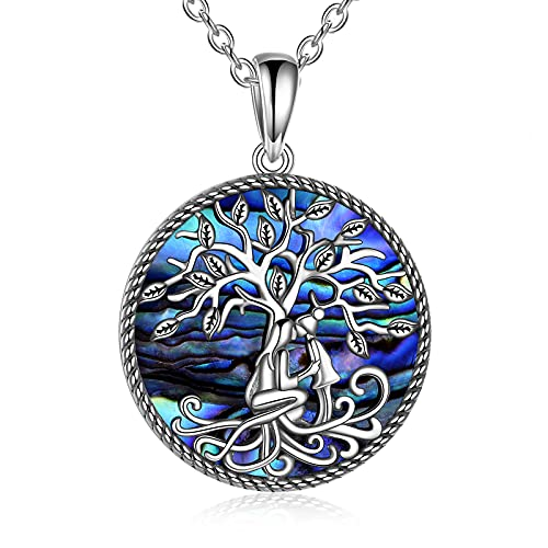 POPLYKE Mother Daughter Necklace Mothers Day Gifts for Mom from Daughter Sterling Silver Celtic Tree of Life Abalone Pendant Jewelry for Women Girls (silver-mother daughter abalone necklace)