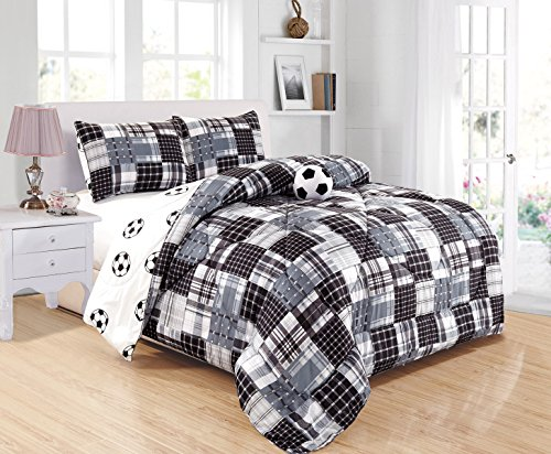 GrandLinen 4 - Piece Kids (Double) Full Size Soccer (Football) Sports Theme Comforter Set with Plush Toy Included-Black, White and Grey Plaid. Boys, Girls, Guest Room and School Dormitory Bedding